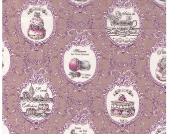 HALF YARD Yuwa - Elegance Tea Time - Stone Colorway 826340-D - Éclair, Macarons, Palmier, Tart, Cake, Cupcake, Dessert Pastry - Japanese