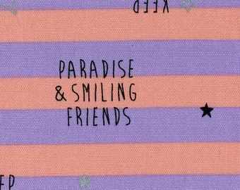 HALF YARD Lecien - Marks & Colors Collection 40868-20 - Paradise and Smiling Friends Stripe Metallic Silver - 40868-20 - Cotton Oxford