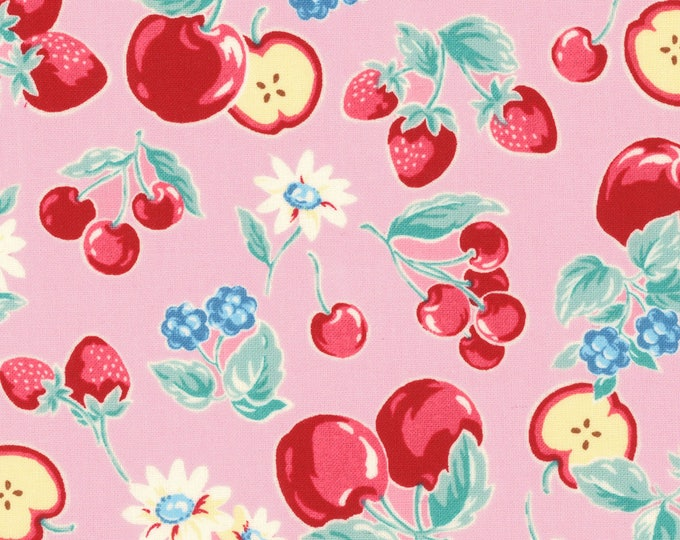 HALF YARD Lecien - Orchard Kitchen 2017 - Fruits and Flowers on PINK 31737-20  - Apple Cherry Strawberry Raspberry -  Japanese Import