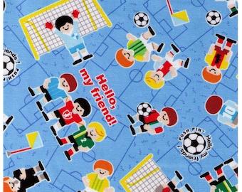 Half YARD Kokka - Hello My Friends Soccer Game on BLUE - Soccer Balls, World Cup, Sports, Football, Footy - Japanese Import
