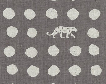 HALF YARD Kokka Echino - PANTHER Ekx-97000-702D -  White on Grey - Geometric Dots and Jaguar - Cotton Linen