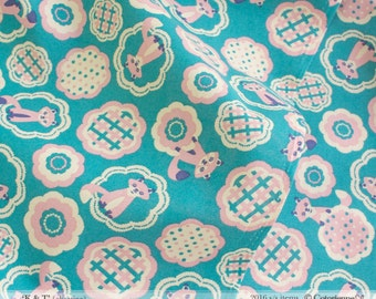 HALF YARD - Foxes on Emerald Blue - Colorway C - Tanuki - K and T Cotorienne Yuwa - Japanese Import Fabric 112532