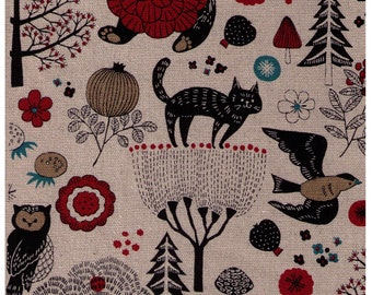 HALF YARD Cosmo - Forest Friends Strawberry Mix on NATURAL AP81303 2A - Cotton Linen Oxford - Bear, Cat, Bird, Tree, Flower -Japanese Import