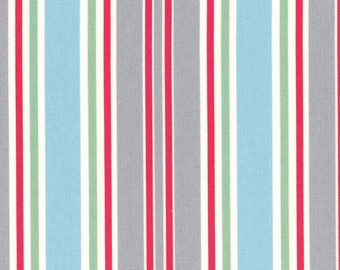 HALF YARD Lecien - Grey, Watermelon Red, Light Blue and Mint STRIPES - 40659-20 - Flower Sugar Maison - Japanese