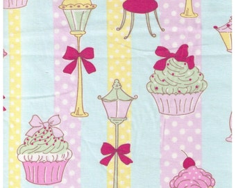 HALF YARD  Yuwa - Cupcakes, Street Lamp and Eiffel Tower on BLUE - 812940 C Yellow and Purple Stripe - Polka Dot, Bow, Chocolate - Japanese