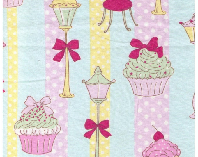 Sale (30) HALF YARD  Yuwa - Cupcakes, Street Lamp and Eiffel Tower on BLUE - Yellow and Purple Stripe - Polka Dot, Bow, Chocolate - Japanese