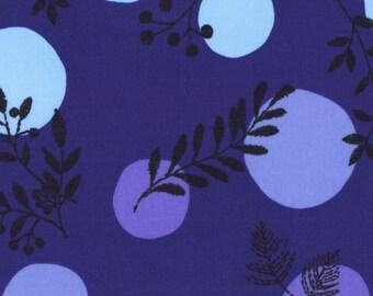 HALF YARD Kokka - Line Flower on Blue - Flower and Dots - 100% Cotton Lawn 59100-2D - Japanese