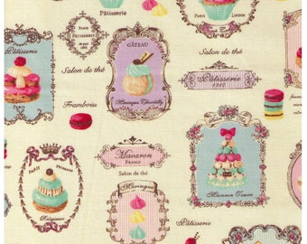 HALF YARD Yuwa Sweet Rondeaux - Paris French Patisserie on IVORY 816956-A - Éclair Macaron Palmier Tart Dessert- Quilting Cotton -  Japanese