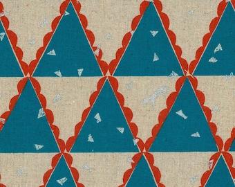 HALF YARD Kokka Echino by Etsuko Furuya - Tent in Teal - Accents in Orange Red and Silver Metallic - 97060-62A - 45 Cotton 55 Linen