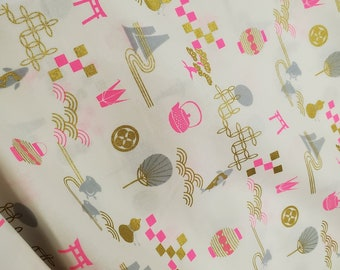 HALF YARD -  Neon Pink with Gold Metallic - Traditional Symbols, Geometric - Quilting Cotton - Japanese Imported