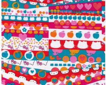 FAT SIXTEENTH - Liberty of London Hello Kitty Rows - Orange, Blue, Pink and Red - Tana Lawn - Apple, Kitty Chan, Bow, Heart, Kawaii