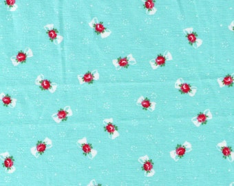 HALF YARD Yuwa - Petite Bows and Flowers on Aqua Blue 816879 B- Atsuko Matsuyama - Japanese Import Fabric