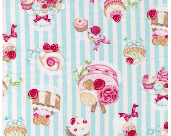 """End of Bolt - 30"""" Cut - Kawaii Sweets on White and Blue Stripes, Cakes, Rose, Strawberries, Bow - 41701-2B Cosmo Textiles - Japanese Import"""