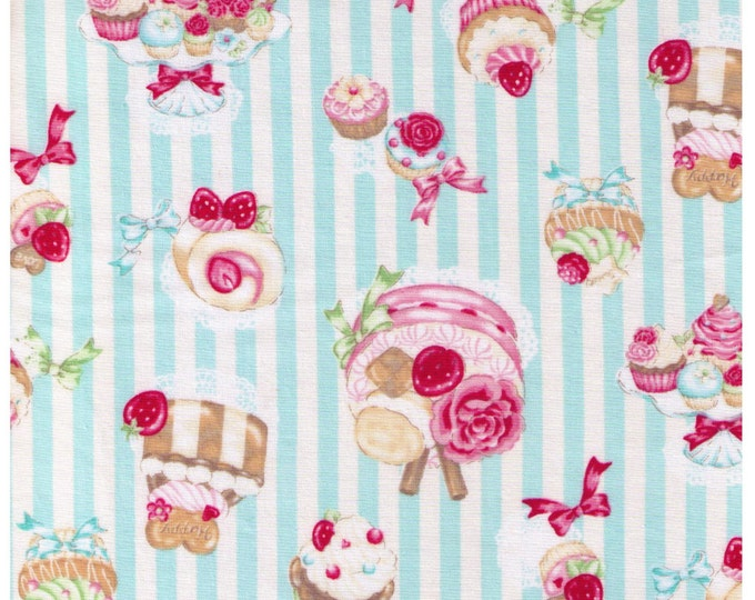 HALF YARD - Kawaii Sweets on White and Blue Stripes, Cakes, Rose, Strawberries, Bow, Cosmo Textiles - Japanese Import