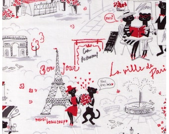 HALF YARD Parisian Cats on White - Miyako Kawaguchi 024A - Paris Cafe, France, Eiffel Tower, Arc de Triomphe, Bonjour, Merci, Flowers - Yuwa