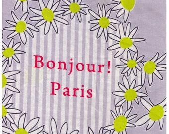 HALF YARD Lecien - Atelier Akiko - Bonjour Paris in Grey 31095-90 - Floral, Daisy, Wreath Japanese Imported Fabric