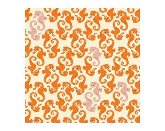 HALF YARD - 20th Anniversary Collection by Heather Ross - Cream Orange Sea horses 40941A-15 Mendocino - Windham Fabrics