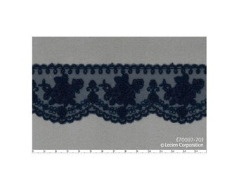 HALF YARD Lecien - Navy Flowers on Blue Scallop Lace - 70097-70  Rose Life Garden Lace by Kayo Enza - Floral, Flower, Bouquet -Japanese