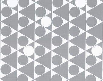 HALF YARD - First of Infinity Collection 31234-90 Gumballs Triangle Circles - Grey and White  - Geometric  Lecien Japanese