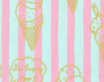 HALF YARD Kokka - Gold Metallic Ice Cream Cones on Aqua Blue and Pink Stripes- 59000-2C - Choco, Cone, Cup, Vanilla, Chocolate - Japanese