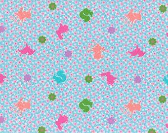 HALF YARD Lecien Happy Rooming - Little Animals and Mini Cherry Blossoms on BLUE 40608-70 - Sakura Flowers, Deer Bunny Squirrel Pig Rabbit