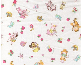 HALF YARD Yuwa - Little Animals Pastels on Cream - Bear Kitten Deer Squirrel doing chores, playing 826484E - Atsuko Matsuyama 30s -Japanese