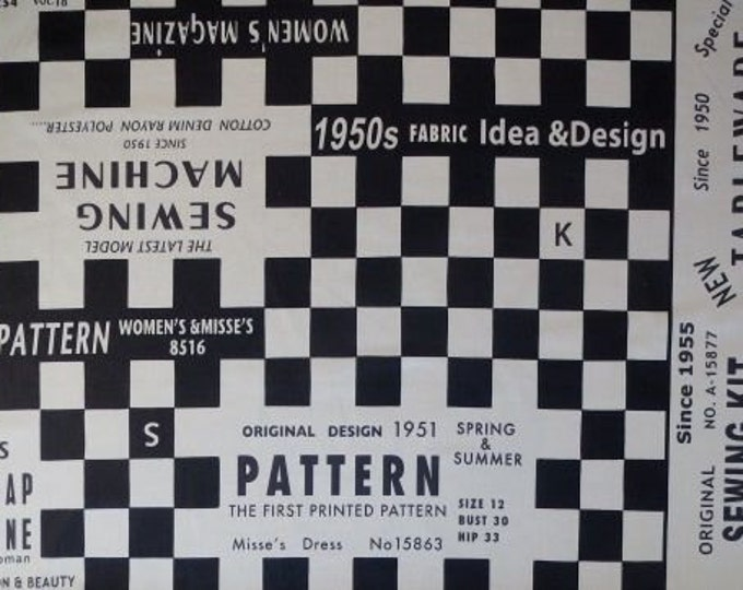 HALF YARD Yuwa - Suzuko Koseki - BLACK Sewing Checkers Block - Pattern, Sewing Machine, Paris France, Check  - Japanese