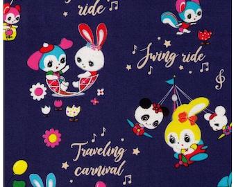 HALF YARD Honey Tune - Playtime on BLUE - Carnival, Teapot Ride, Ferris Wheel, Carousel - Lecien Japanese