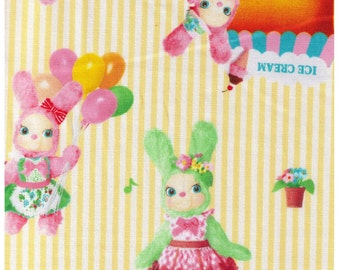 HALF YARD Kokka - Usaron Dreamy Bunny on Cream with Yellow Stripes, Ice Cream, Balloons 35500-501C - Japanese Imported Fabric