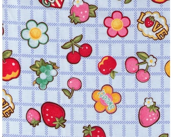 HALF YARD Yuwa - Cute Fruits and Flowers on Block Grid - BLUE Colorway- Atsuko Matsuyama 30s collection 116563 C - Japanese Import Fabric