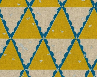HALF YARD Kokka Echino by Etsuko Furuya - Tent in Yellow - Accents in Aqua Teal and Silver Metallic - 97060-62E - 45 Cotton 55 Linen