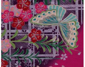 HALF YARD Yuwa - Traditional Japanese Print - Pink Colorway Metallic Accents 829570-C - Flowers, Geometric Grid, Butterfly - Yukata Japan
