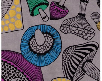 HALF YARD Cosmo - Large Scale Mushrooms on GREY - Cotton Canvas - Japanese Import
