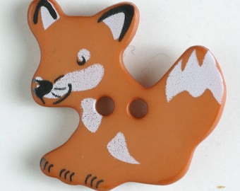 FOX Button - Brown Colorway 25 mm - Made in Germany - Washable and Dry Cleanable 330871