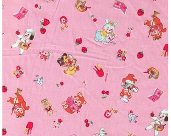 HALF YARD Yuwa - Little Animals on Pink - Bear Kitten Deer Squirrel doing chores, playing 826484B - Atsuko Matsuyama 30s -Japanese Import
