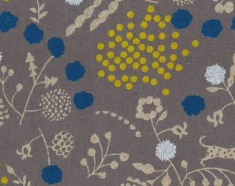 HALF YARD Kokka Echino Spring 2018 - SPROUT Jg-96900-902B - Grey Silver Metallic - Jaguar, Fox, Seed Pods, Hexagons - Cotton Linen