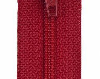 Coats & Clark - All-Purpose Polyester Coil Zipper - RED - 14 inch