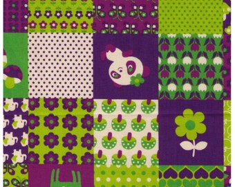 HALF YARD - Panda Deer Cheater in Purple and Green 35400-403C - Heart, Mushroom, Flower, Dot, Apple, Butterfly - Japanese Import