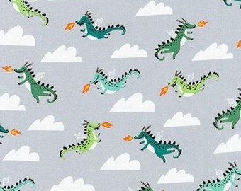 Sale HALF YARD Hello Lucky - Dragons on Grey - By Hello!Lucky for Robert Kaufman - Eunice Moyle and Sabrina Moyle