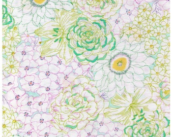 HALF YARD Yuwa - Succulent Garden - Pastel Green Colorway 824522-C - Cactus, Flowers, Blooms, Blossoms - Cotton Quilting - Japan Import