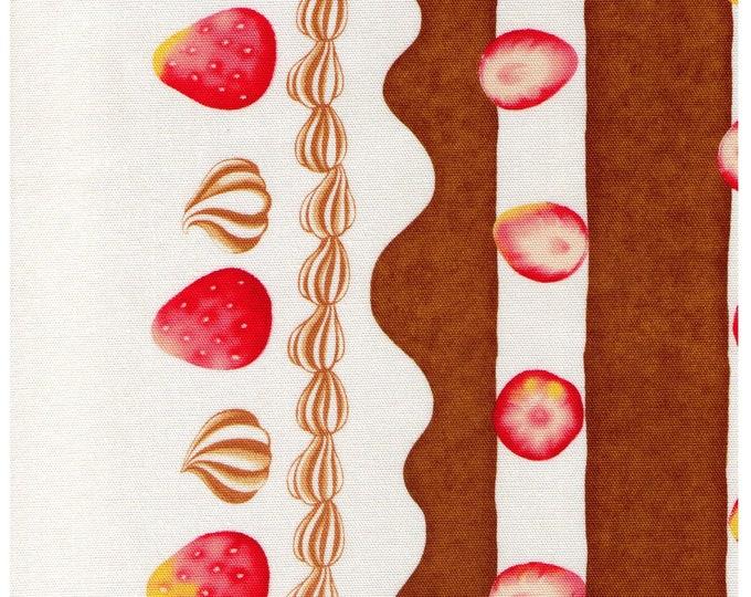 HALF YARD Cosmo Textile - Strawberry, Chocolate Cake and Cream Border Print - AP81403 C- Strawberries, Layered, whipped cream, Sponge cake