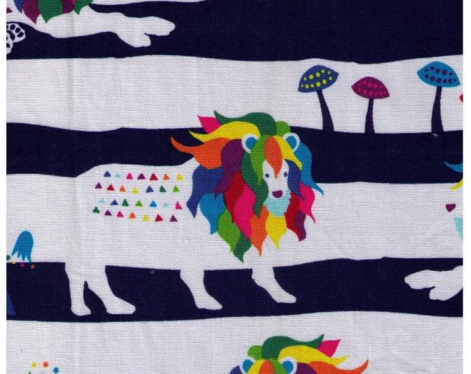 Featured listing image: HALF YARD Kiyohara - Kayo Horaguchi HKF58-NV Rainbow Lions on Navy - Mushroom, Colorful, Triangle Geometric - Cotton Linen