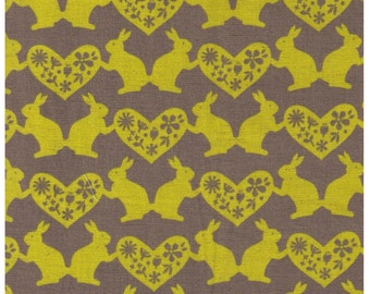HALF YARD Trefle - Yellow Bunny Love Print on STONE tan- Kokka Linen Cotton Fabric - Bunny, Heart, Love, Flower - Japanese Imported
