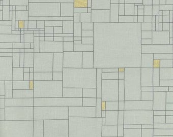 HALF YARD Lecien - Line to Face - GRID - Gold Metallic and Lines on Light Sage Green - 41103-60 - Cotton - Japanese