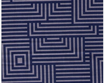 "End of Bolt - 18"" Cut - Lecien Geometric Collection - Squares in BLUE - 41108-70 -Cotton Linen Blend Canvas - Japanese"