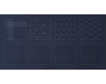 Cosmo Hidamari Sashiko Sampler - Sashiko Coasters on BLUE #902 - Hand Quilting Stitching- Japanese Traditional Design