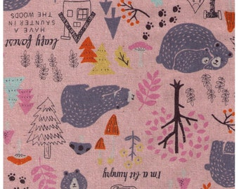 HALF YARD - Cosmo - Leafy Forest AP92904-2B - Cotton Linen Blend - Bear, Tree, Cabin, Woods, Woodland - Japanese Import