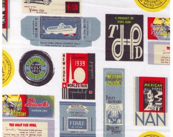 HALF YARD Yuwa - Travel Stamps on WHITE- Suzuko Koseki 826205-A - Japanese Import - Tickets and Luggage Tags,  Paris Bonjour France 1950s