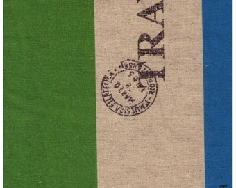 HALF YARD Yuwa - Travel Stripes Blue and Green - Cotton / Linen Canvas SZ44446679 F - Japanese Import