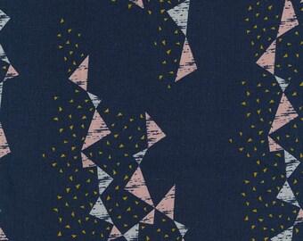 HALF YARD Kokka - Tayutou TRIANGLES Mustard, Grey and Pink on Blue - Ekx5100-3C By Fabrica Uka - 45 Cotton/55 Linen Canvas - Japanese Import